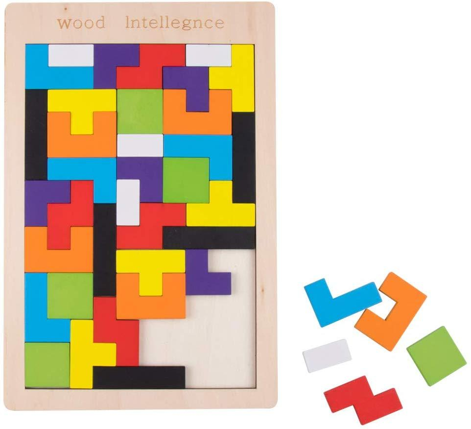 Clearance: Wooden Tetris Tangram Puzzle 40 Pcs Block Intelligence For  Preschool Children/ Tangram/ Toys For Kids/ Toys For Children/ Wood avec Tangram Chat