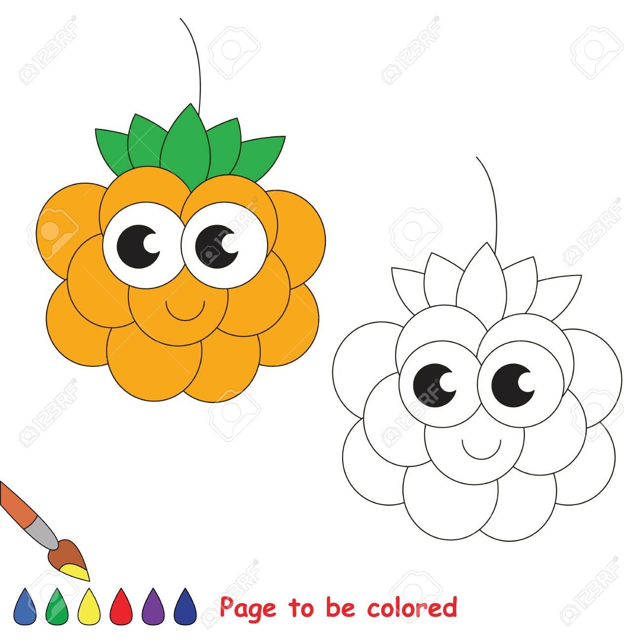 Cloudberry À Colorier. Livre De Coloriage Pour Éduquer Les Enfants.  Apprendre Les Couleurs Jeu Éducatif Visuel. Jeu Facile Pour Les Enfants Et tout Jeux Pour Apprendre Les Couleurs