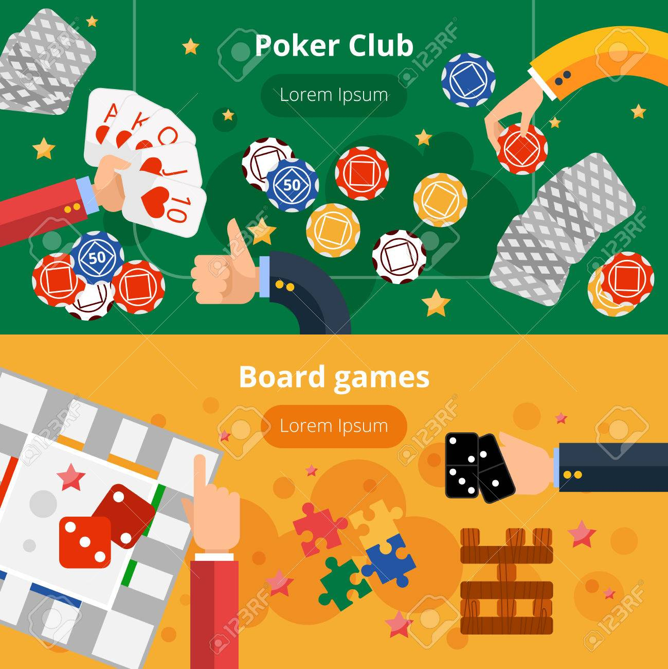 Club De Poker En Ligne Et Jeux De Hasard De Pages Web Interactif Deux  Bannières Plates Conception Abstraite Isolé Illustration Vectorielle destiné Jeux A Deux En Ligne