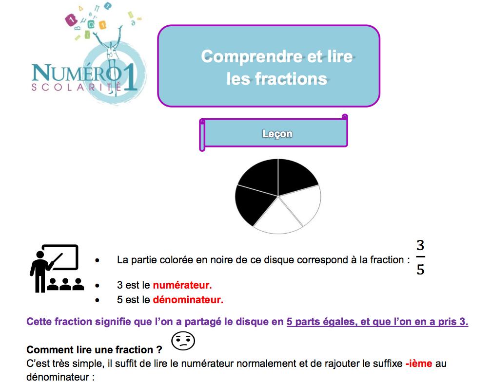 Cm2 Comprendre Et Lire Les Fractions Exercices Et Leçon destiné Exercice Cm2 Gratuit