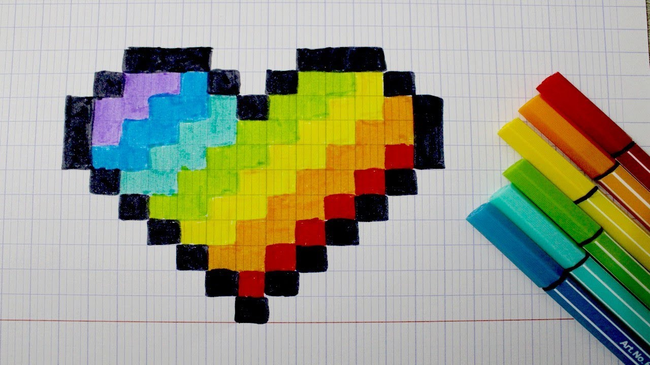 Coeur Arc-En-Ciel En Pixel Art dedans Coloriage Pixel Gratuit