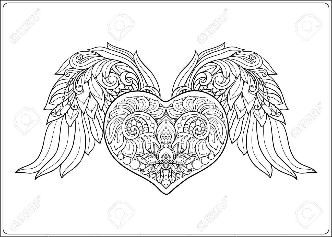 Coeur D'amour À Motifs Décoratifs Avec Des Ailes D'ange. Illustration  Vectorielle De Ligne De Stock. Livre À Colorier Pour Adultes. Dessin De  Dessin pour Ange A Colorier