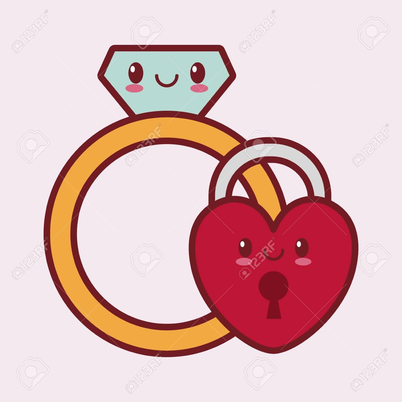 Coeur De Style Kawaii Lié Dessin Animé Icône Saint Valentin D'image  Illustration Vectorielle Design destiné Dessin Pour La Saint Valentin
