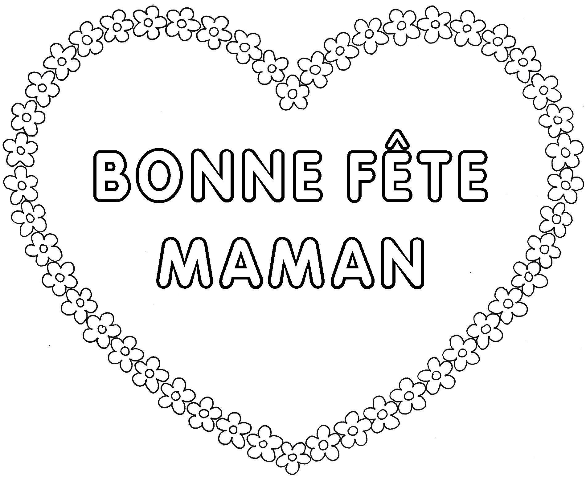 Coeur Fleur Bonne Fête Maman À Colorier | Carte Fête Des intérieur Carte Bonne Fete Maman Imprimer
