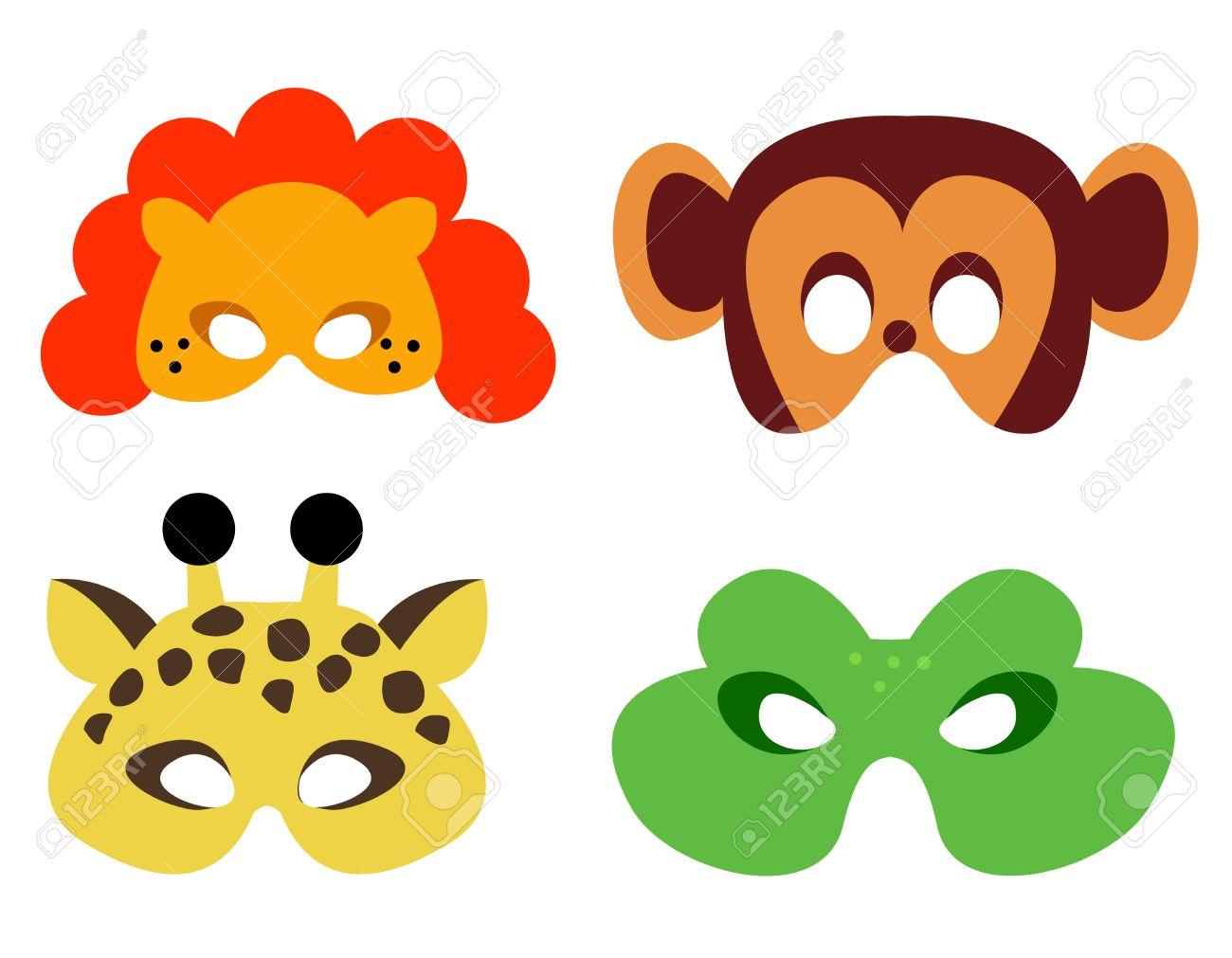 Collection De Masques D'animaux Avec Des Visages D'animaux. Prêt À Imprimer  Et À L'usure encequiconcerne Masque À Imprimer Animaux