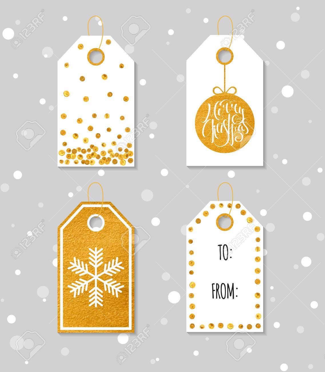 Collection De Quatre Or Texture Noël Et Nouvel An Étiquettes Cadeaux.  Ensemble De Étiquette De Cadeau De Fête, Autocollant Et De L'étiquette.  Modèle à Etiquette Pour Cadeau De Noel