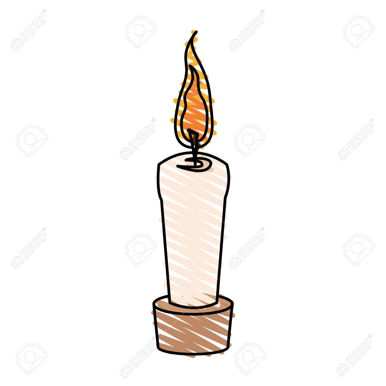 Color Crayon Stripe Cartoon Decorative Candle Spa In Wooden Base Vector  Illustration destiné Dessin Sur Bougie