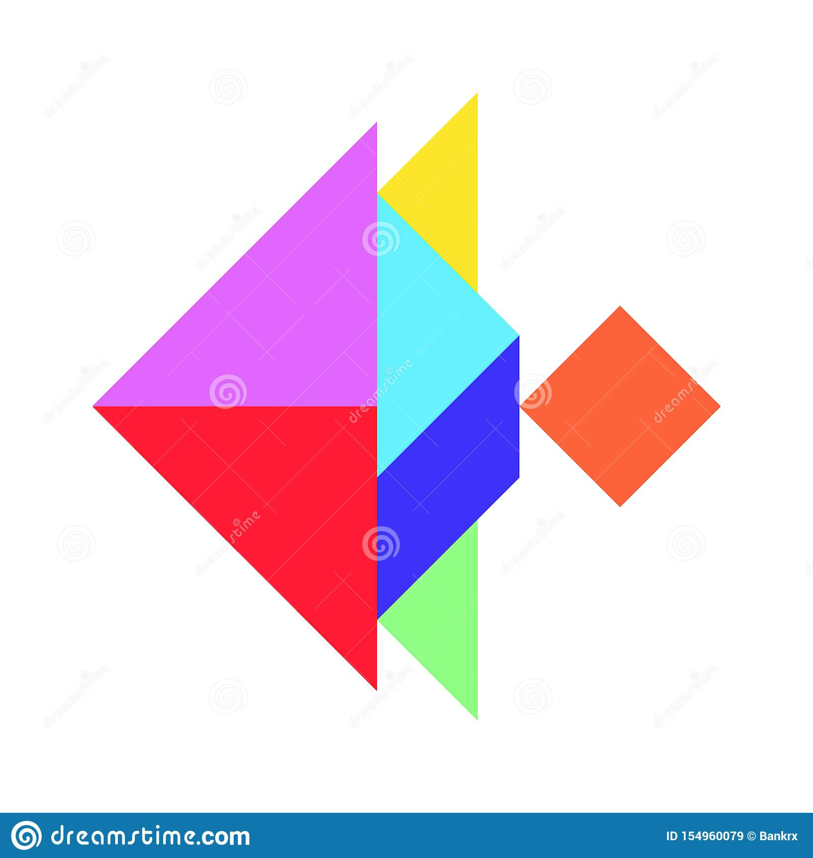 Color Tangram In Fish Shape On White Background Vector Stock tout Tangram Simple