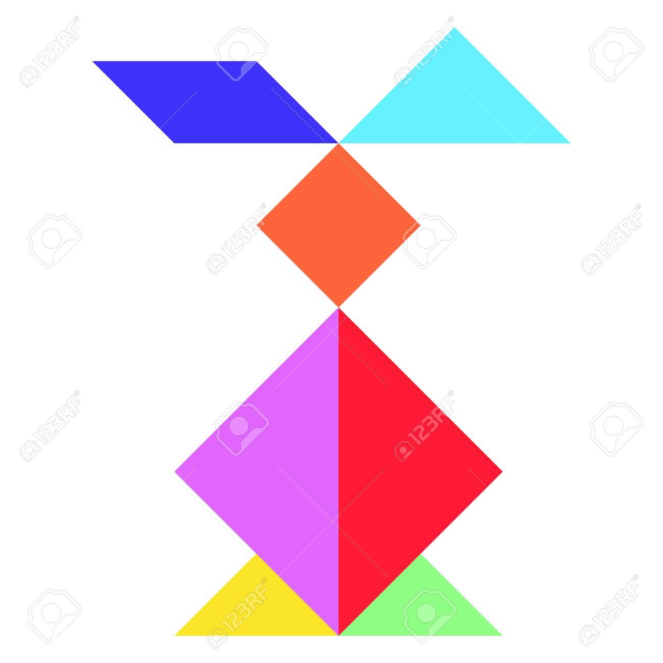 Color Tangram In Rabbit Shape On Whtie Background (Vector) avec Tangram Lapin