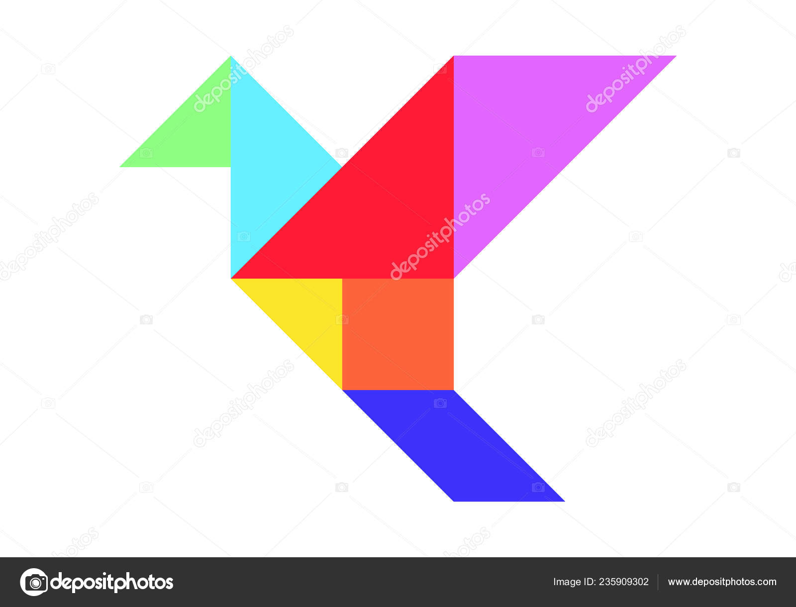 Color Tangram Puzzle Flying Bird Shape White Background concernant Tangram Chat
