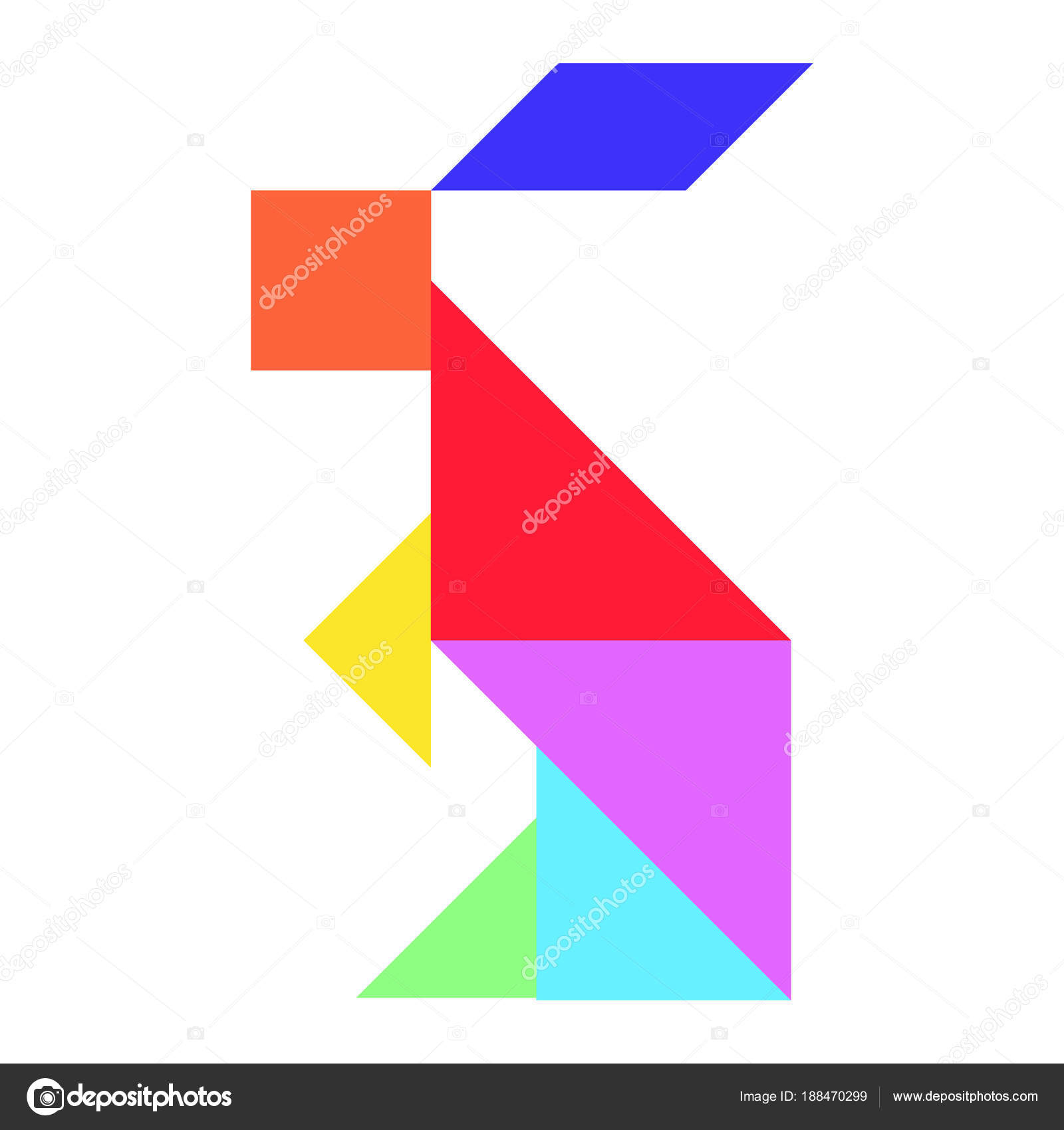 Color Tangram Puzzle In Rabbit Shape On White Background serapportantà Tangram Lapin