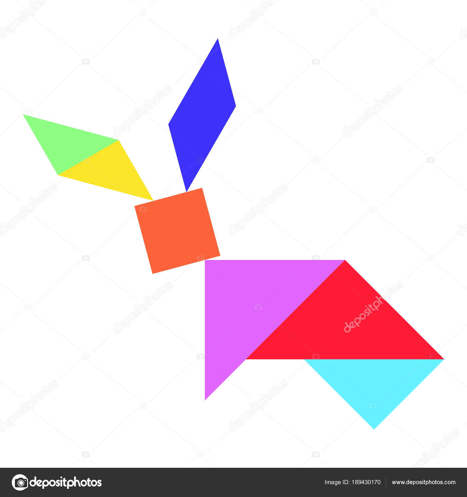 Color Tangram Puzzle In Rabbit Shape On White Background tout Tangram Lapin