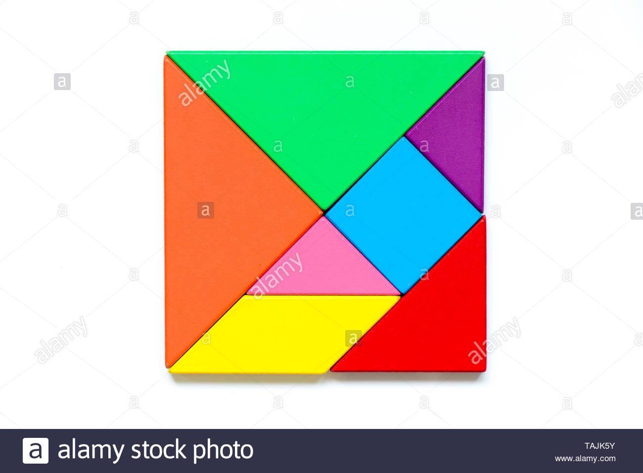 Color Tangram Puzzle In Square Shape On White Background concernant Tangram Chat