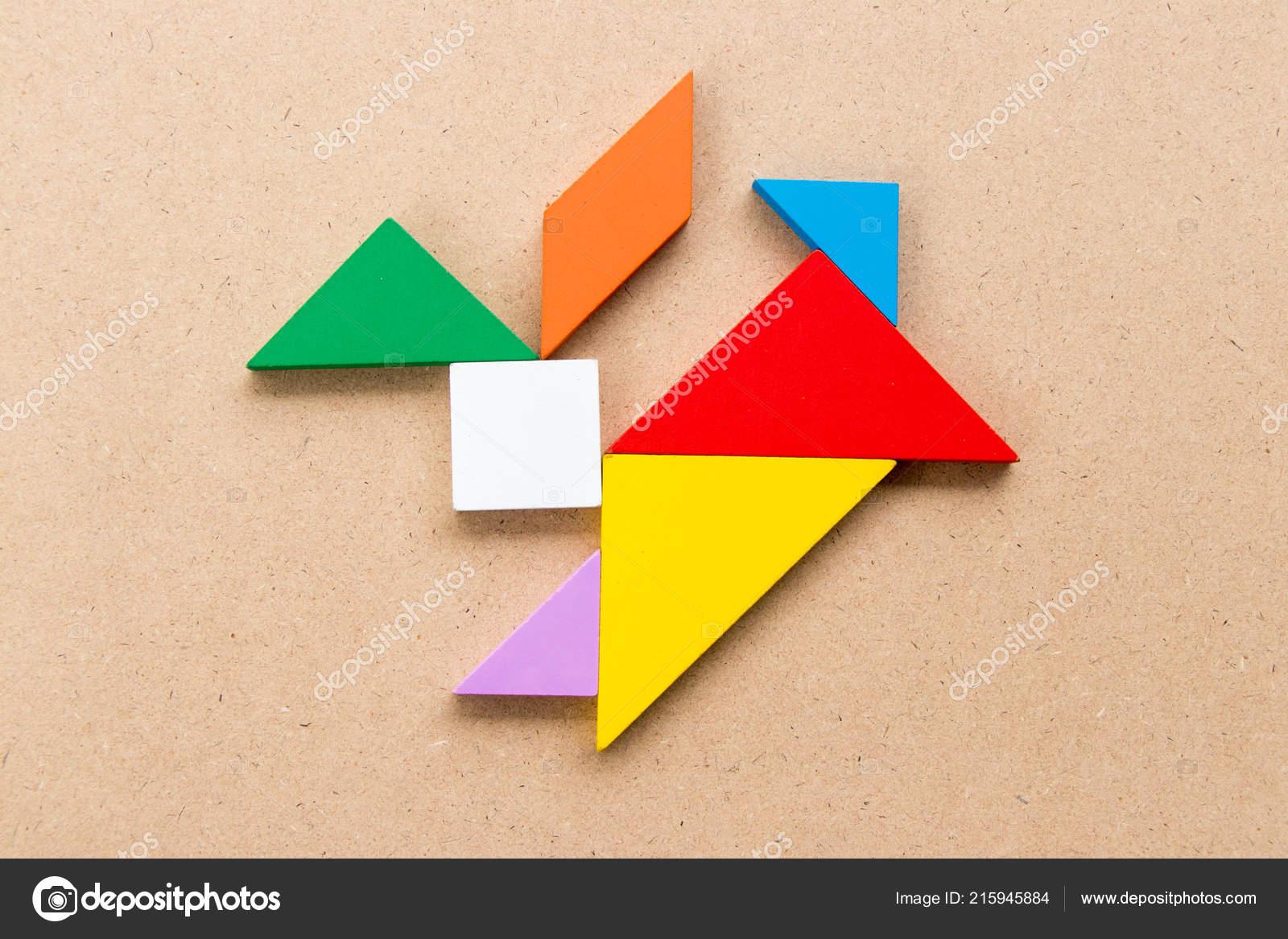 Color Tangram Puzzle Rabbit Shape Wood Background — Stock intérieur Tangram Lapin