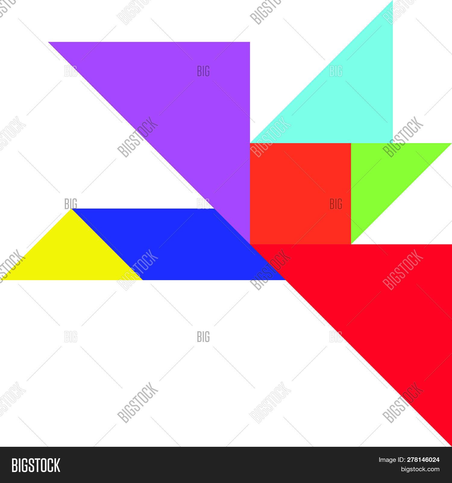 Color Tangram Puzzle Vector & Photo (Free Trial) | Bigstock dedans Tangram Chat
