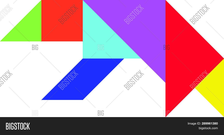 Color Tangram Puzzle Vector & Photo (Free Trial) | Bigstock serapportantà Tangram Chat