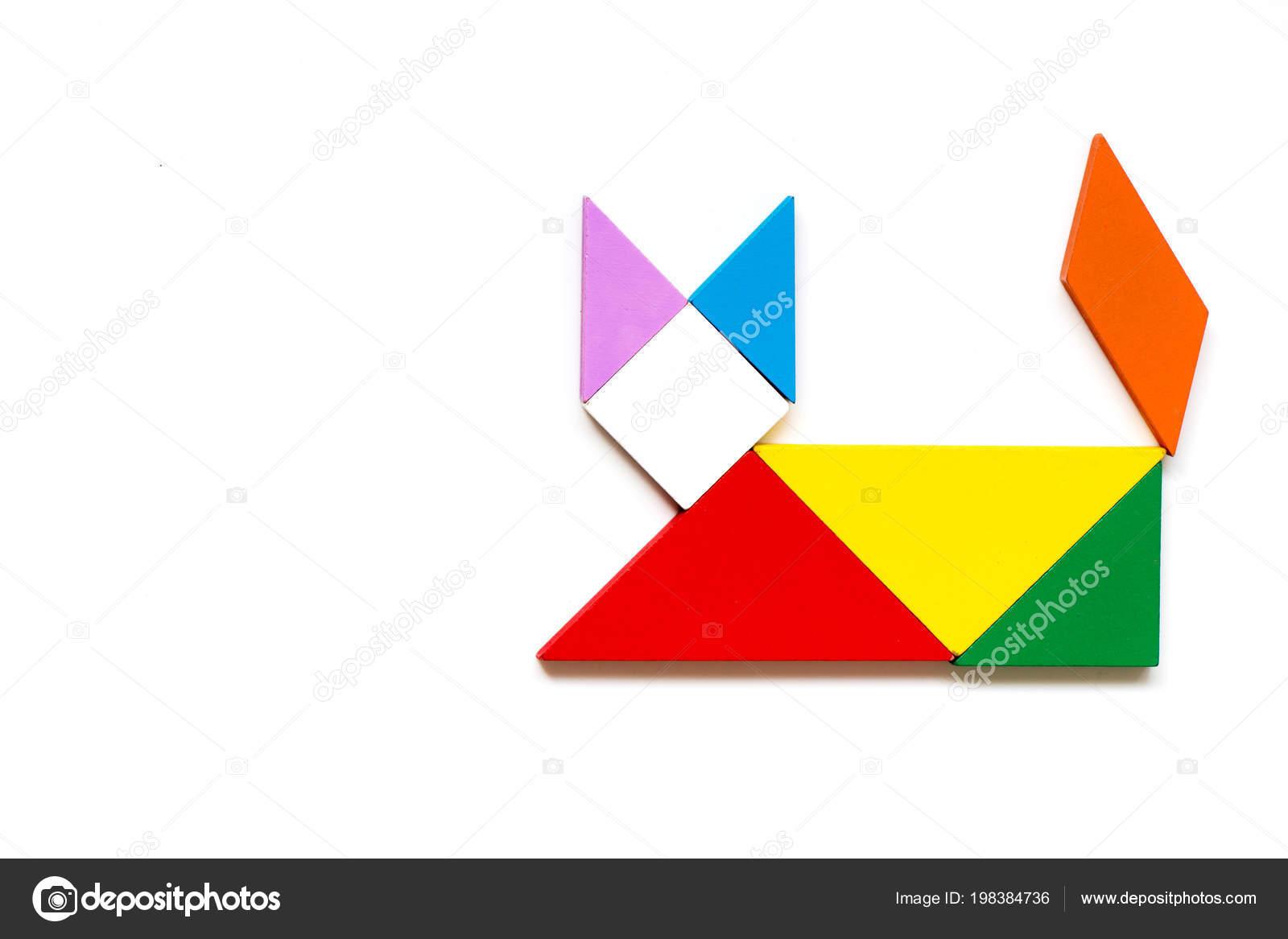 Color Wood Tangram Puzzle Cat Shape White Background — Stock intérieur Tangram Chat