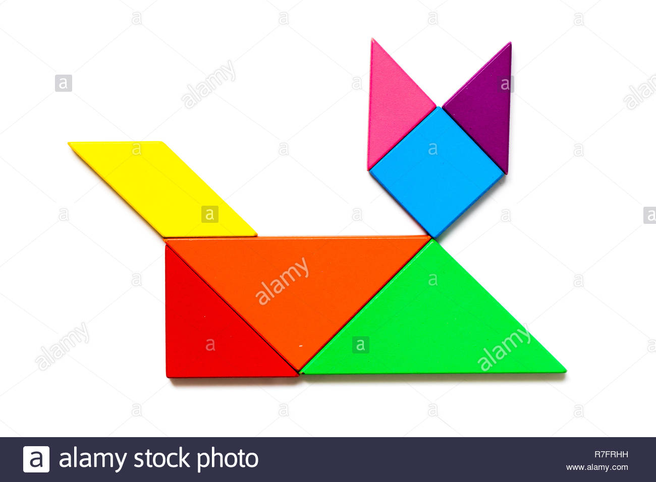 Color Wood Tangram Puzzle In Cat Shape On White Background serapportantà Tangram Chat