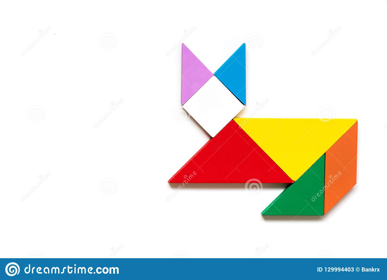 Color Wood Tangram Puzzle In Cat Shape Stock Image - Image pour Tangram Simple