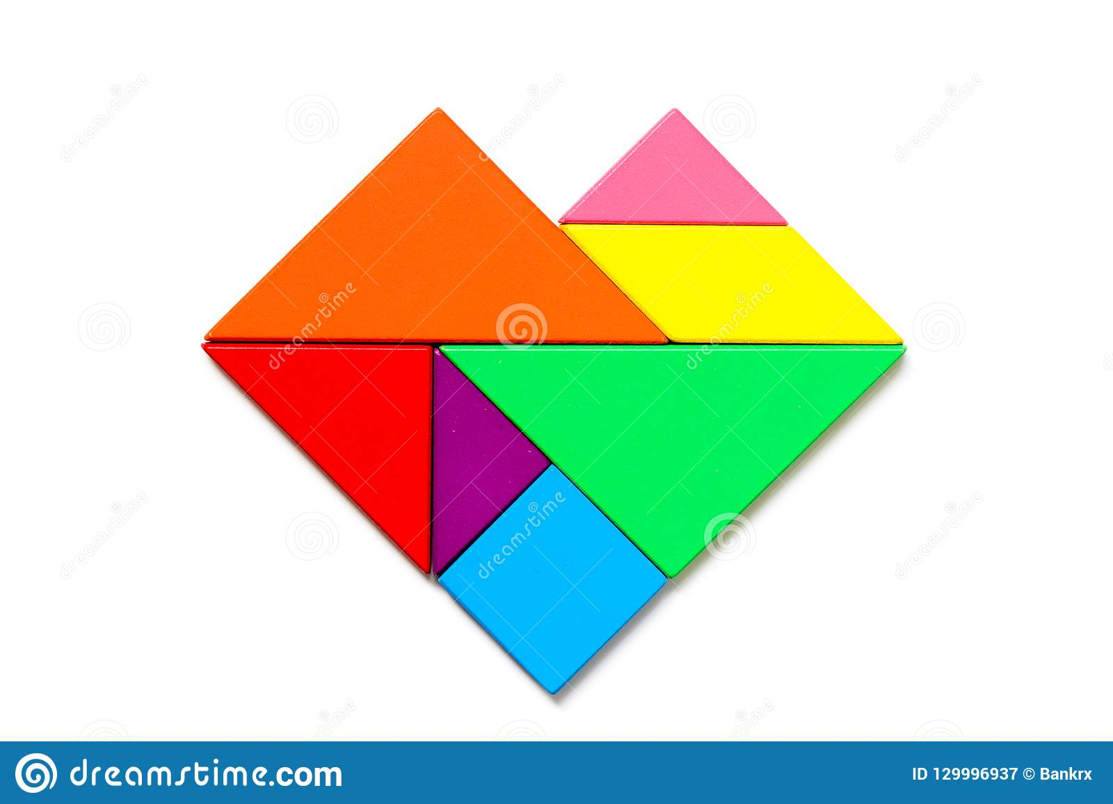 Color Wood Tangram Puzzle In Heart Shape On White Background encequiconcerne Tangram Simple