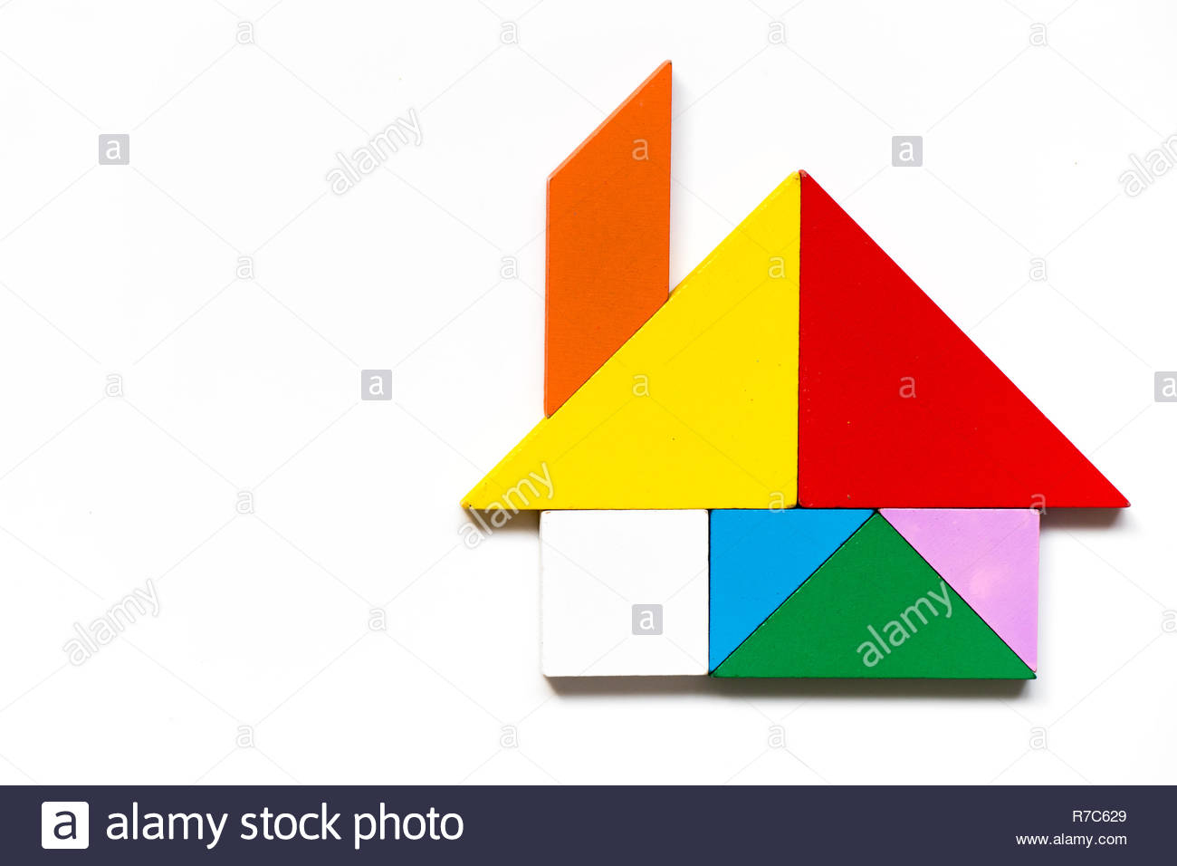Color Wood Tangram Puzzle In Home Shape On White Background tout Tangram Chat