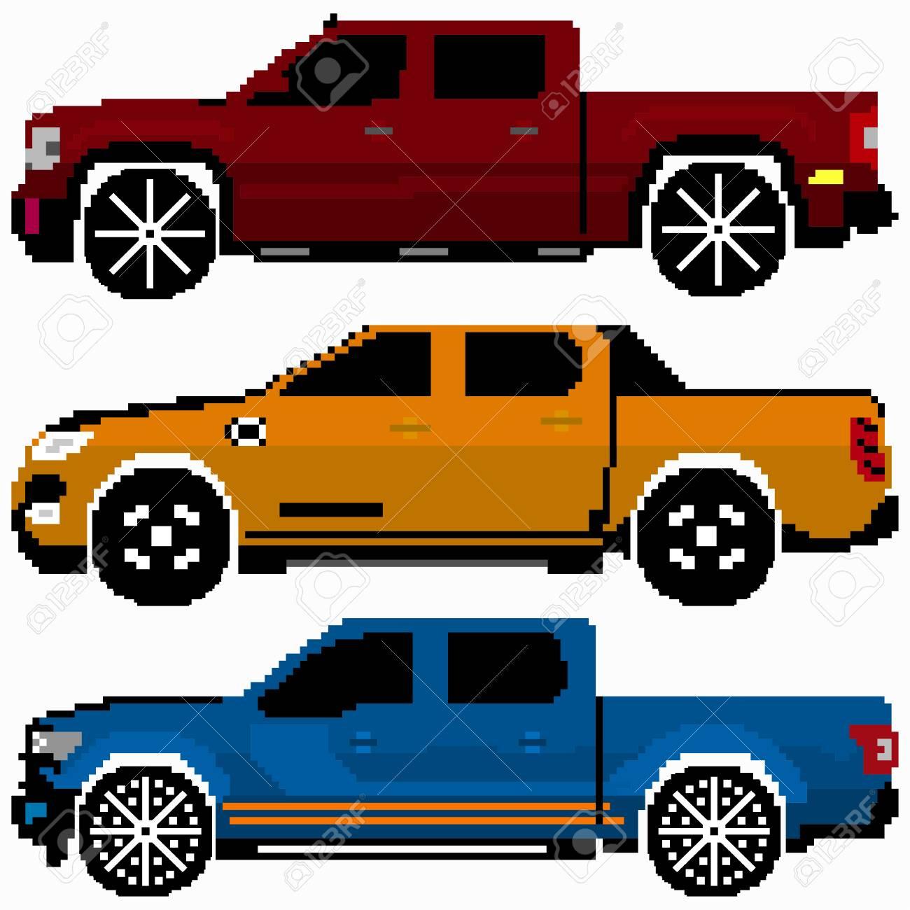 Colored Cars Collection Vector Pixel Art destiné Voiture Pixel Art