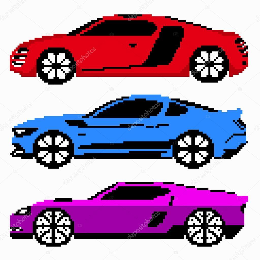 Colored Race Cars Collection Vector Pixel Art — Stock Vector destiné Voiture Pixel Art