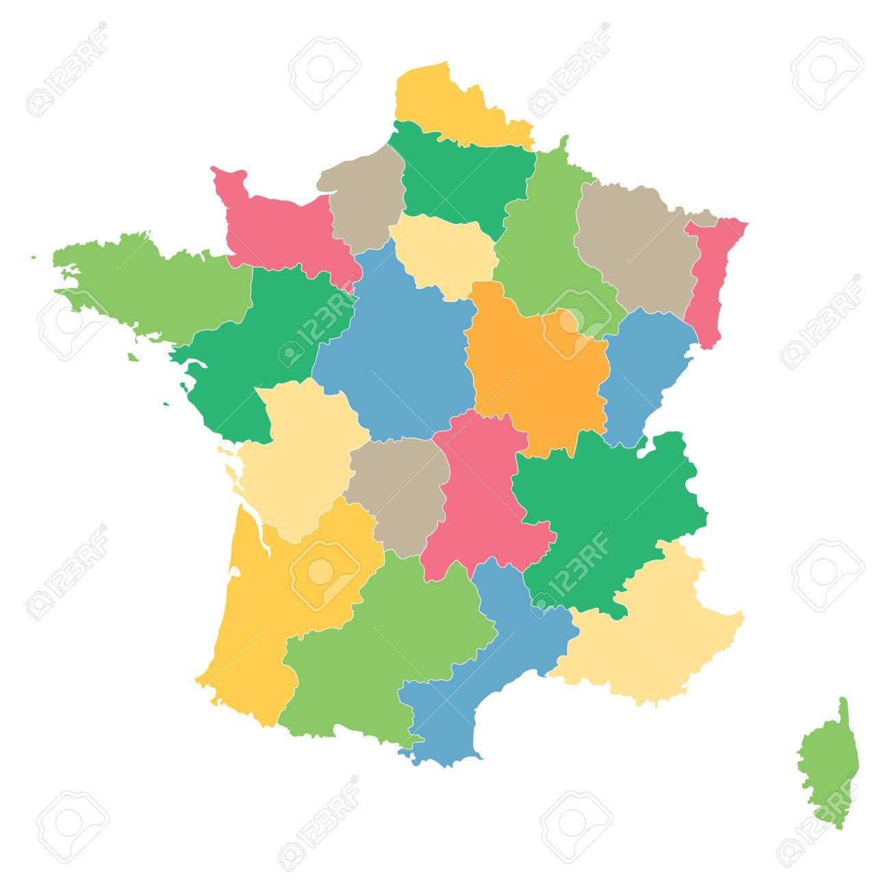 Colorful Map Of France All Regions On Separate Layers destiné Carte De Region De France