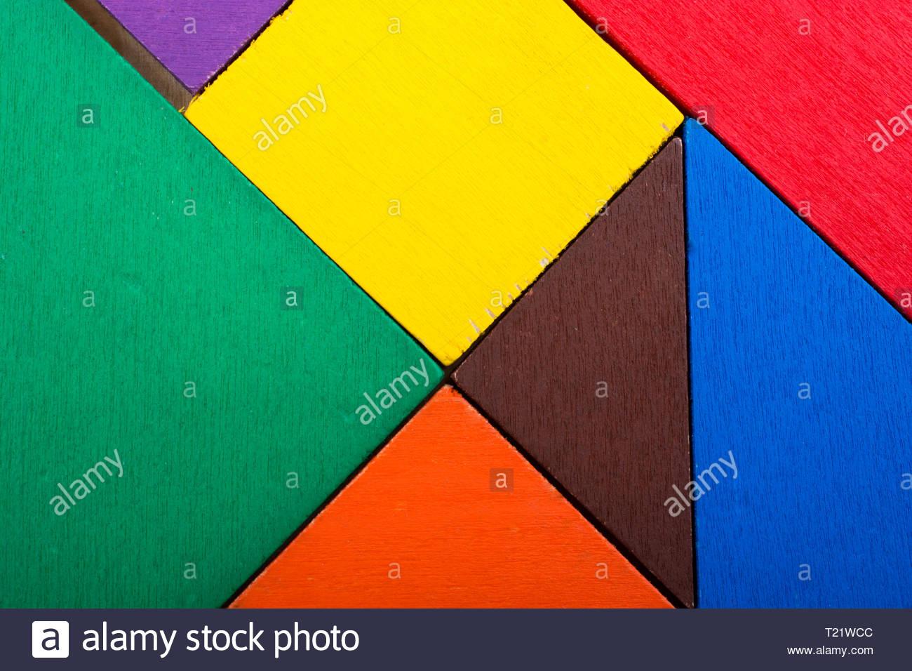 Colorful Pieces Of A Square Tangram Puzzle Stock Photo avec Pièces Tangram