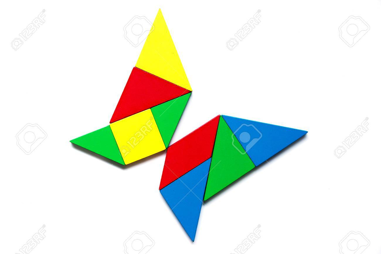 Colorful Tangram As Butterfly Shape On White Background dedans Tangram Modèles Et Solutions