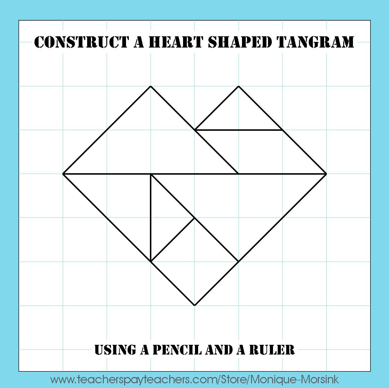 Colorful Tangrams: Valentine's Day - Heart Tangram Patterns dedans Tangram Simple