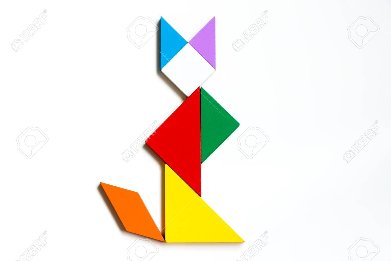 Colorful Wood Tangram Puzzle In Sitting Cat Shape On White Background concernant Tangram Chat
