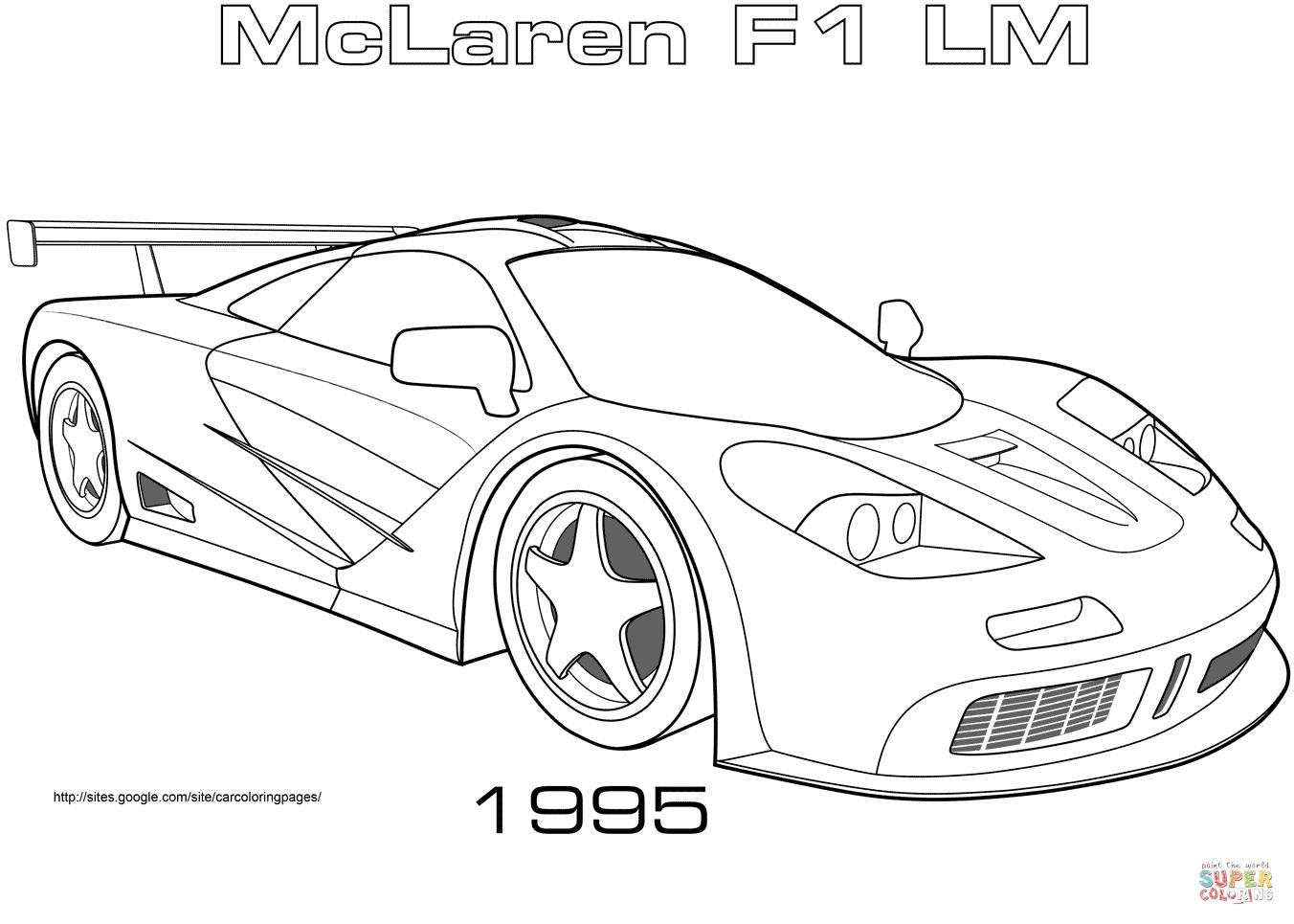 Coloriage - 1995 Mclaren F1 Lm | Coloriages À Imprimer Gratuits concernant Ferrari A Colorier