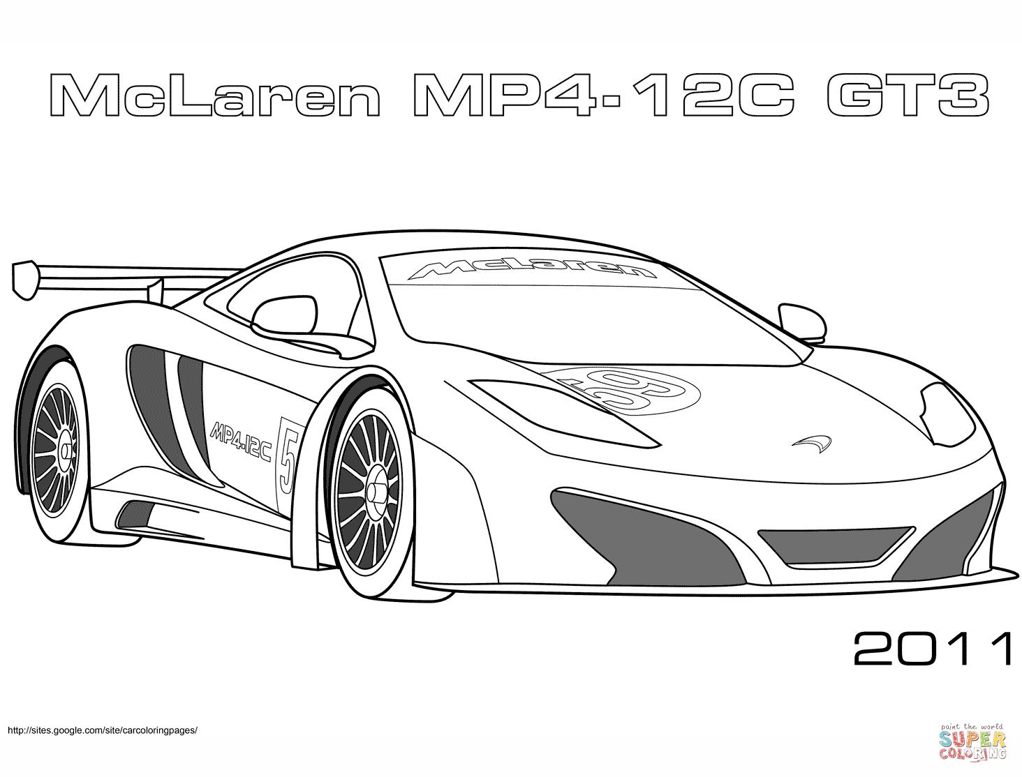 Coloriage - 2011 Mclaren Mp4 12C Gt3 | Coloriages À Imprimer destiné Ferrari A Colorier