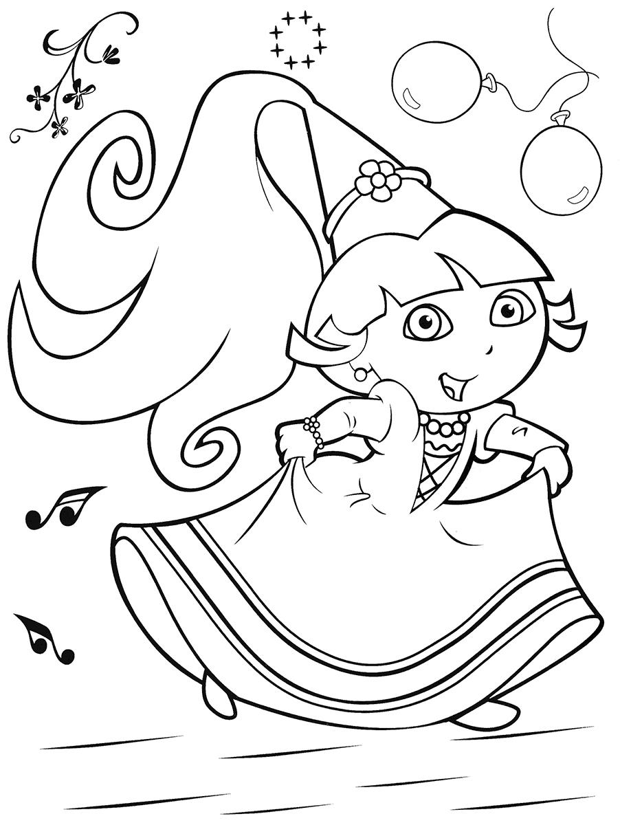 Coloriage À Dessiner Dora À Colorier Sur L'ordinateur dedans Coloriage Dora Princesse