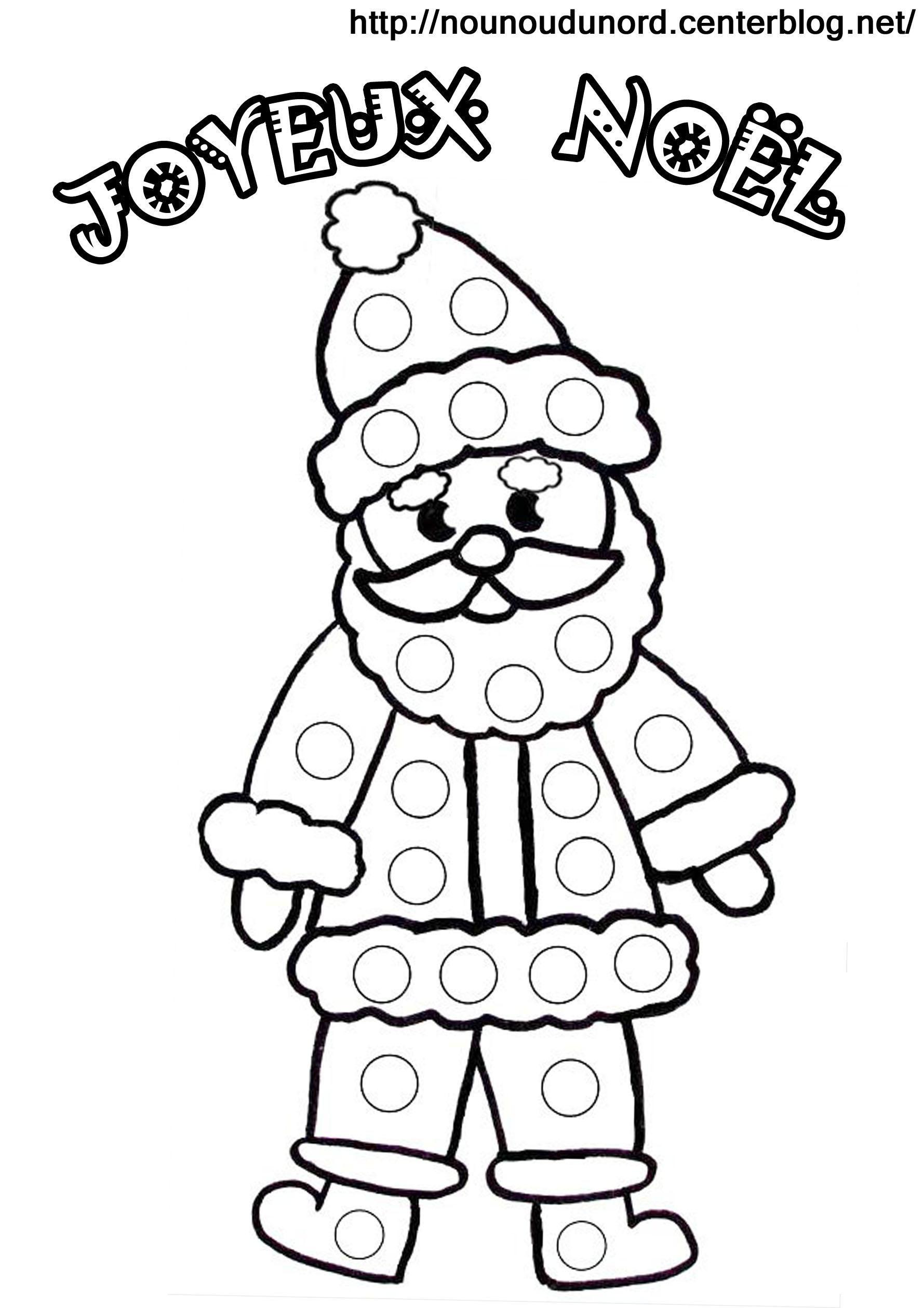 Coloriage À Gommettes Le Père Noël concernant Coloriage De Père Noel Gratuit A Imprimer