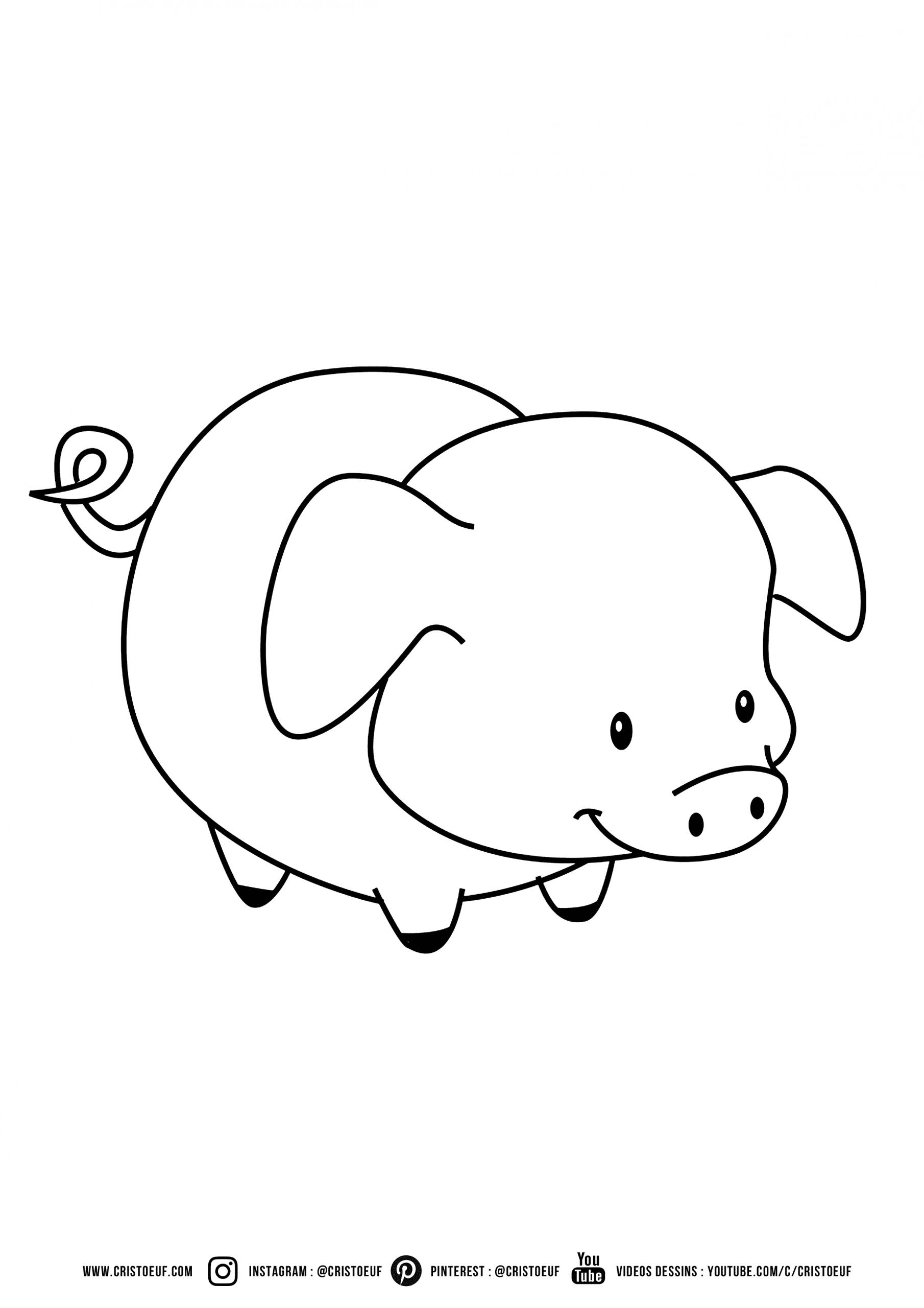 Coloriage À Imprimer Coloriages Pour Enfants À Colorier ! destiné Dessin Cochon A Colorier
