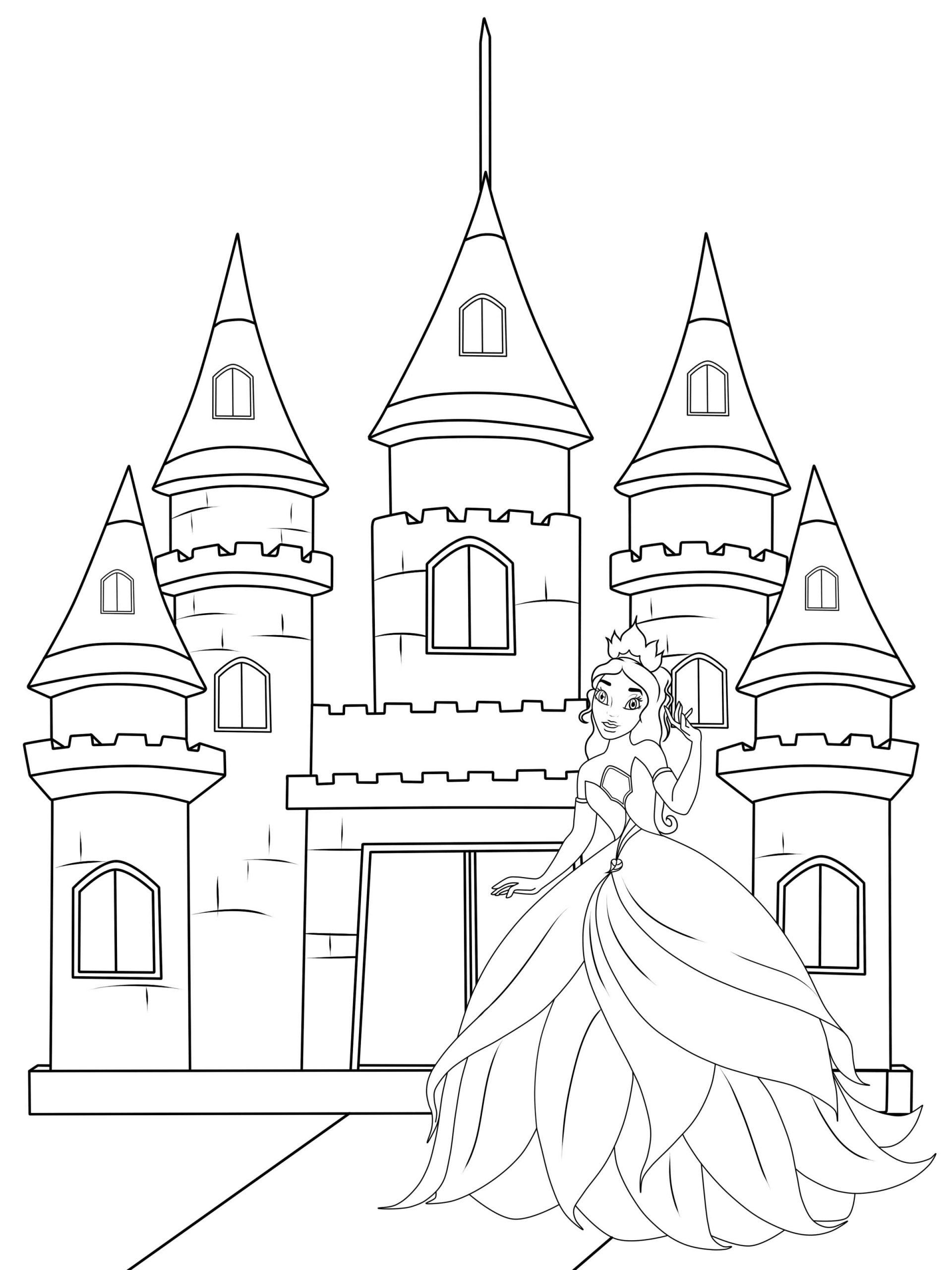 Coloriage À Imprimer : Le Château De La Princesse concernant Chateau Princesse Dessin