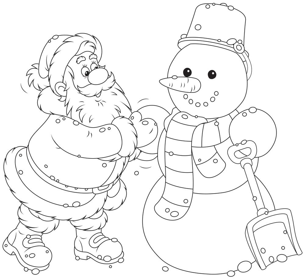 Coloriage À Imprimer : Le Père Noël Fabrique Un Bonhomme De serapportantà Dessin Bonhomme De Neige A Imprimer