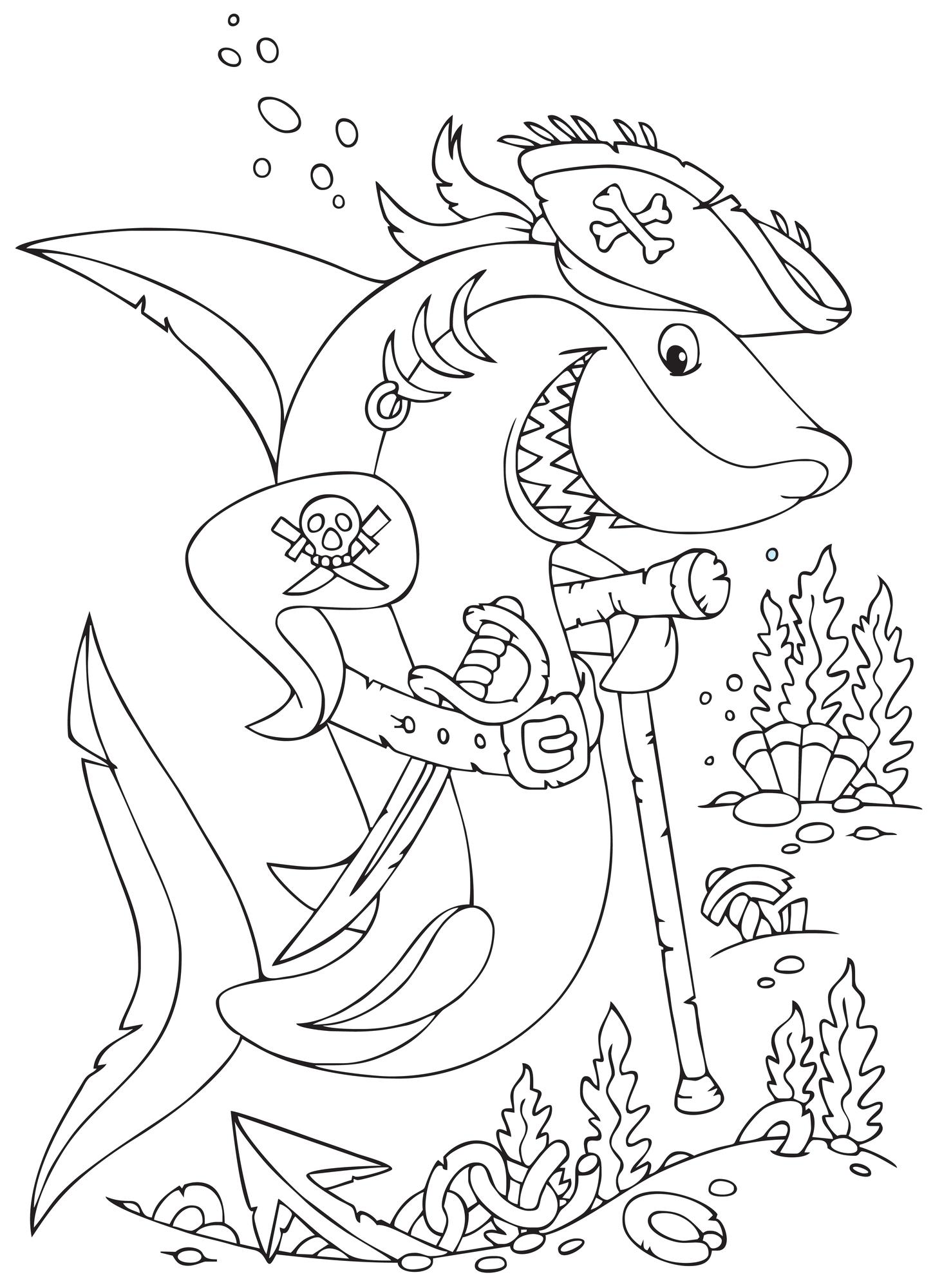 Coloriage À Imprimer : Le Requin Pirate destiné Dessin A Imprimer De Pirate