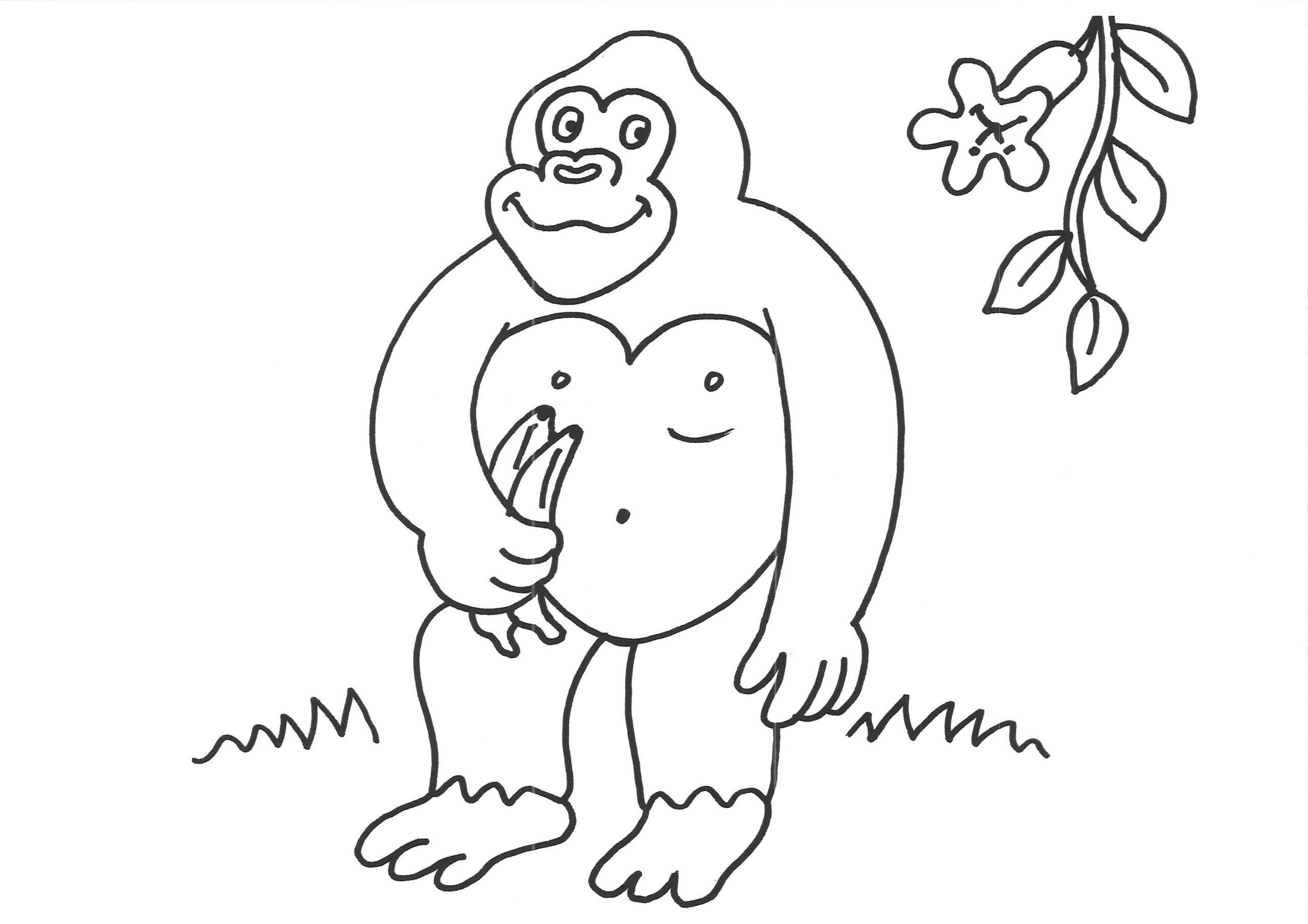 Coloriage À Imprimer : Un Gorille tout Coloriage Gorille