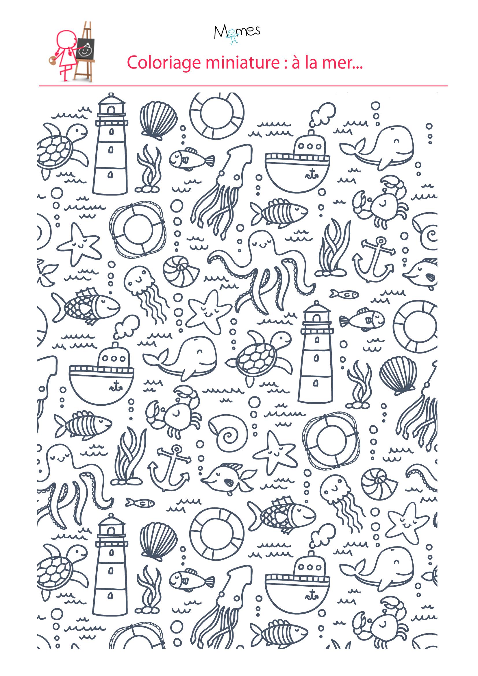 Coloriage : À La Mer - Momes avec Coloriage Sur La Mer À Imprimer