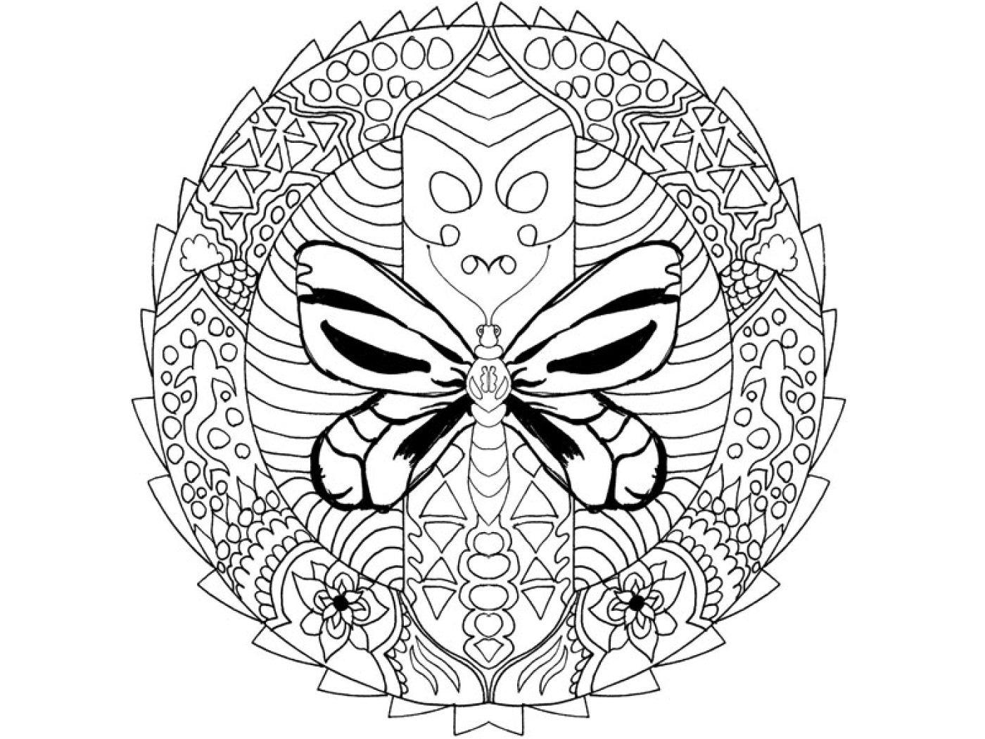 Coloriage À Télécharger: Mandala Papillon encequiconcerne Jeux De Coloriage De Rosace