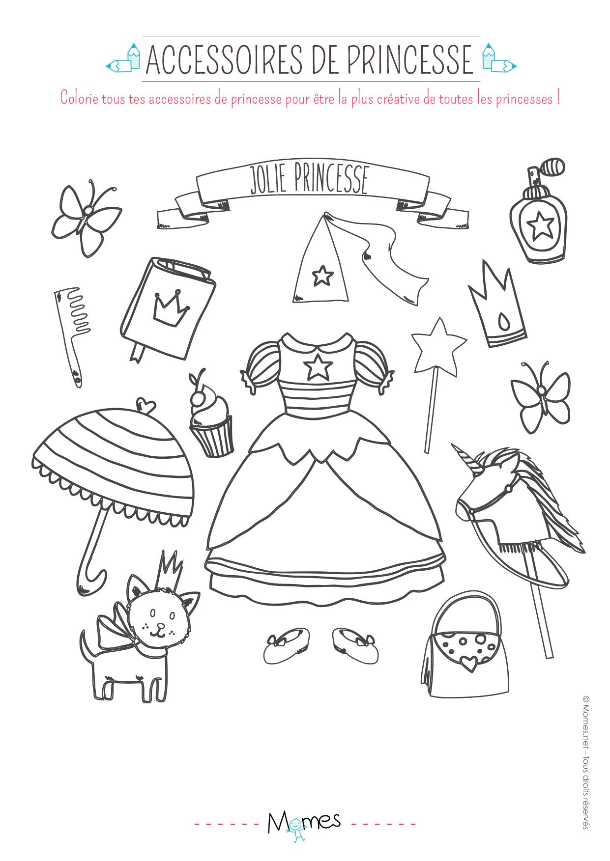 Coloriage Accessoires De Princesse - Momes pour Coloriage À Imprimer Chateau De Princesse