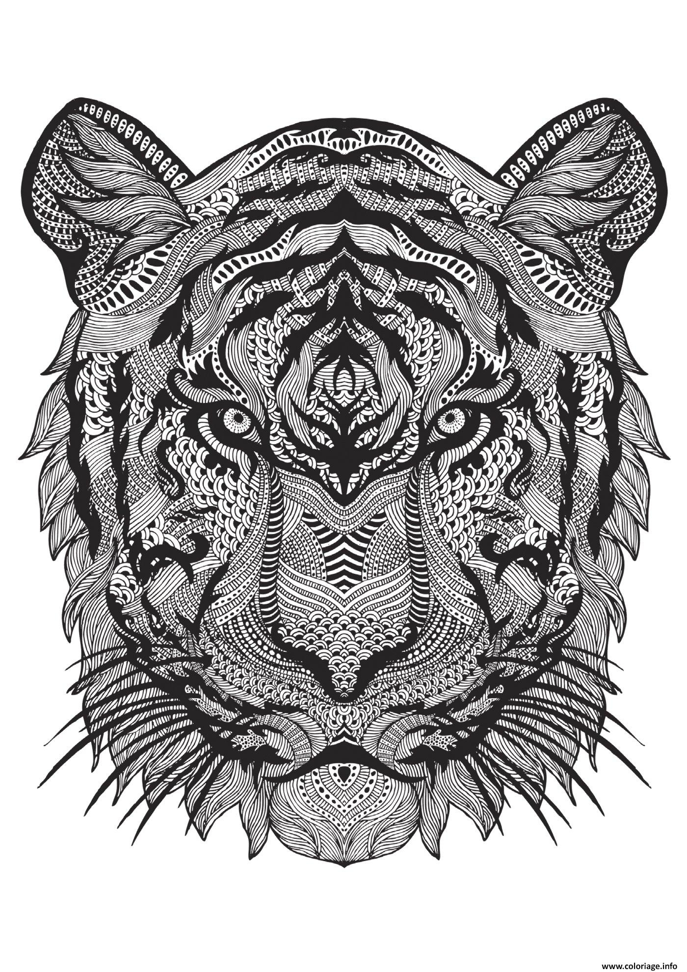 Coloriage Adulte Animal Tigre Difficile Antistress Dessin à Coloriage De Mandala Difficile A Imprimer
