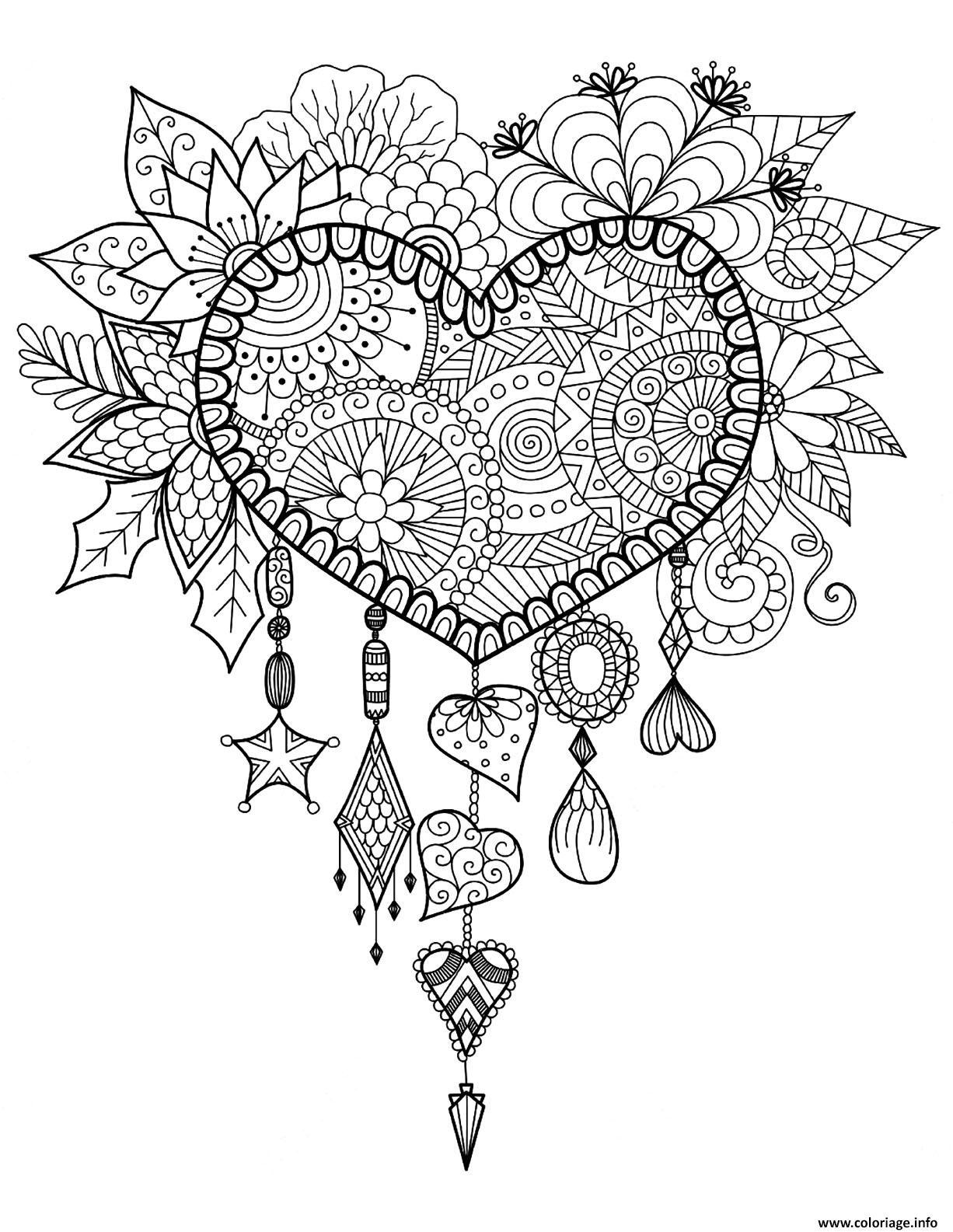 Coloriage Adulte Attrape Reve Coeur Mandala Zen Dessin encequiconcerne Image Zen A Imprimer