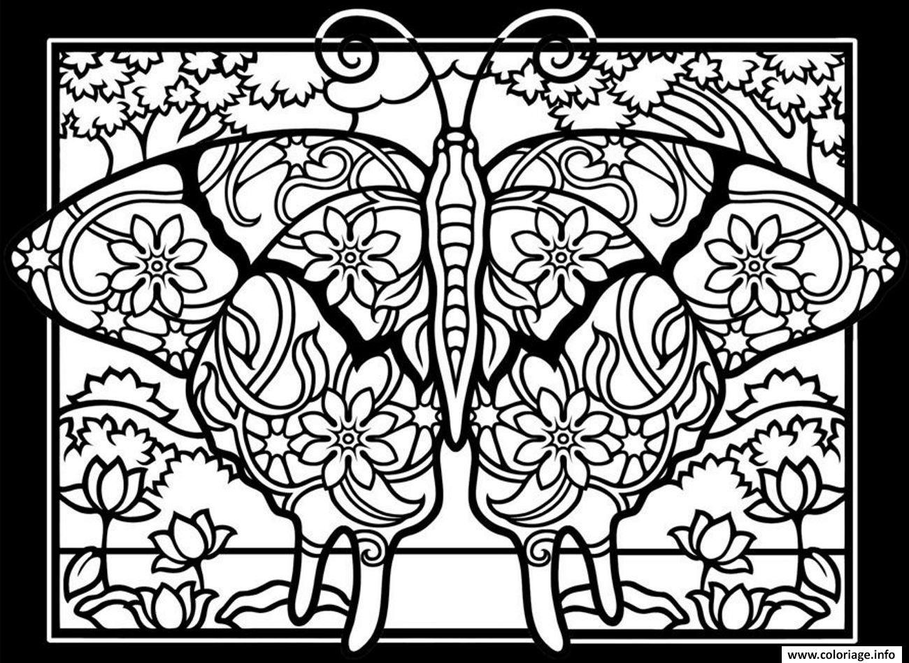 Coloriage Adulte Difficile Papillon Fond Noir Dessin encequiconcerne Dessin Papillon À Colorier