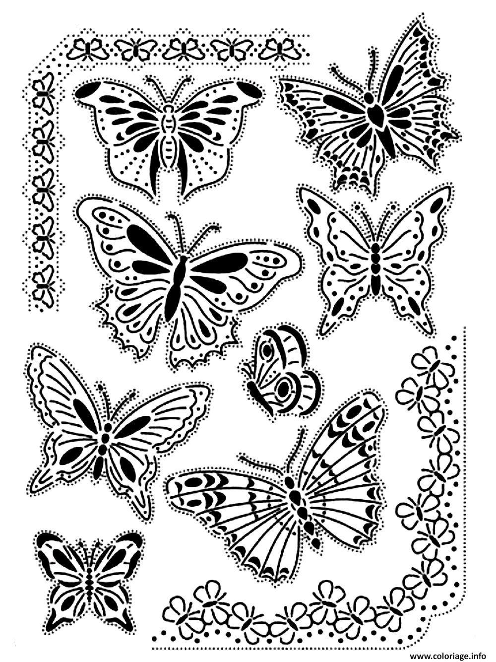 Coloriage Adulte Difficile Papillons Vintage Dessin intérieur Dessin Papillon À Colorier