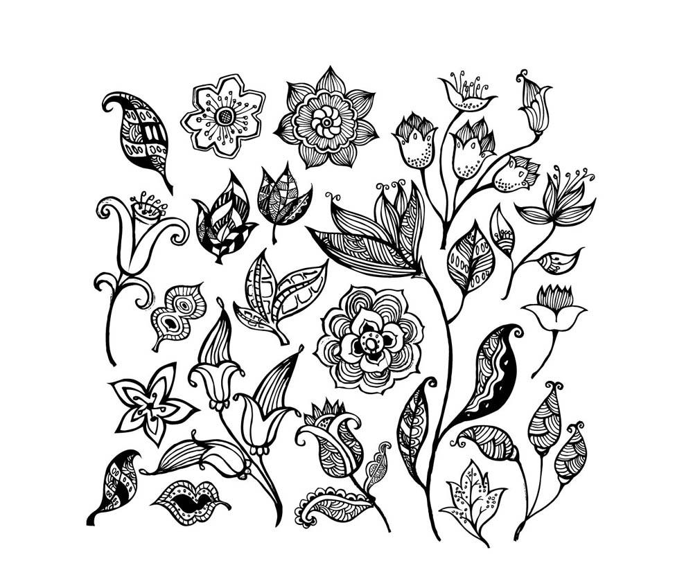 Coloriage Adulte - Fleurs tout Dessin A Colorier De Fleur