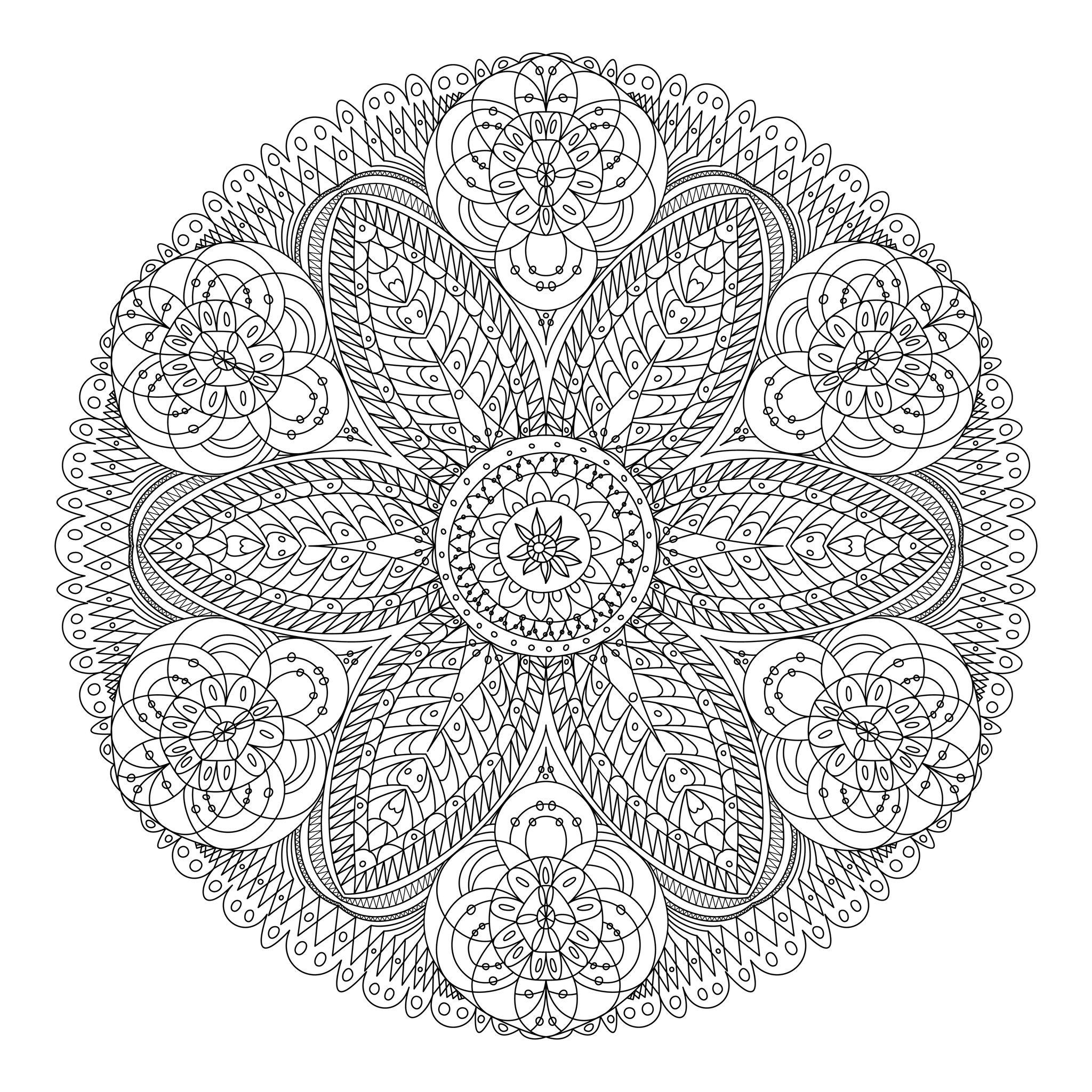 Coloriage Adulte - Mandala tout Mandala À Imprimer Facile